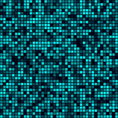 Technology pattern. Filled pattern of squares. Cyan colored seamless background. Superb vector illustration. Ilustrace