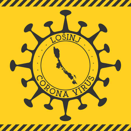 Corona virus in Losinj sign. Round badge with shape of virus and Losinj map. Yellow island epidemy lock down stamp. Vector illustration.