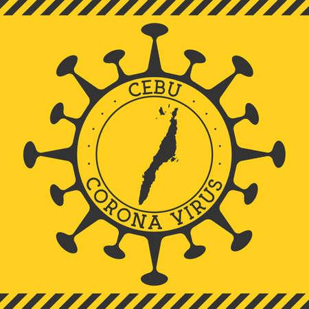 Corona virus in Cebu sign. Round badge with shape of virus and Cebu map. Yellow island epidemy lock down stamp. Vector illustration.