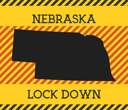 Nebraska Lock Down Sign. Yellow us state pandemic danger icon. Vector illustration.
