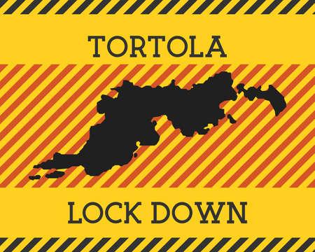 Tortola Lock Down Sign. Yellow island pandemic danger icon. Vector illustration. Ilustrace