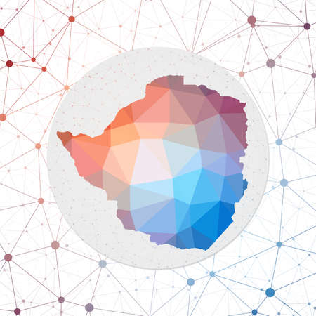 Abstract vector map of Zimbabwe. Technology in the country geometric style poster. Polygonal Zimbabwe map on 3d triangular mesh backgound. EPS10 Vector. Ilustração