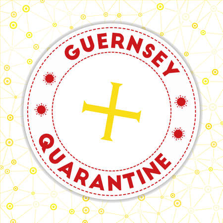 Quarantine in Guernsey sign. Round badge with flag of Guernsey. Country lockdown emblem with title and virus signs. Vector illustration.
