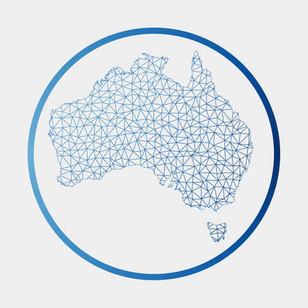 Australia icon. Network map of the country. Round Australia sign with gradient ring. Technology, internet, network, telecommunication concept. Vector illustration.