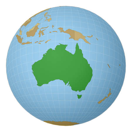 Globe centered to Australia. Country highlighted with green color on world map. Satellite projection view. Vector illustration.