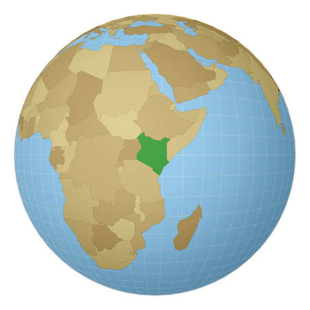 Globe centered to Kenya. Country highlighted with green color on world map. Satellite projection view. Vector illustration.