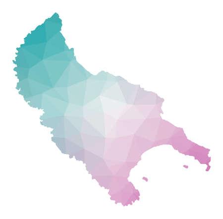Polygonal map of Zakynthos Island. Geometric illustration of the island in emerald amethyst colors. Zakynthos Island map in low poly style. Technology, internet, network concept. Vector illustration.