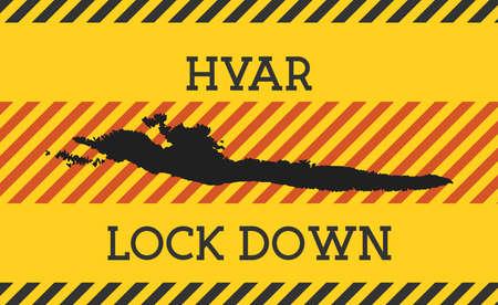 Hvar Lock Down Sign. Yellow island pandemic danger icon. Vector illustration.