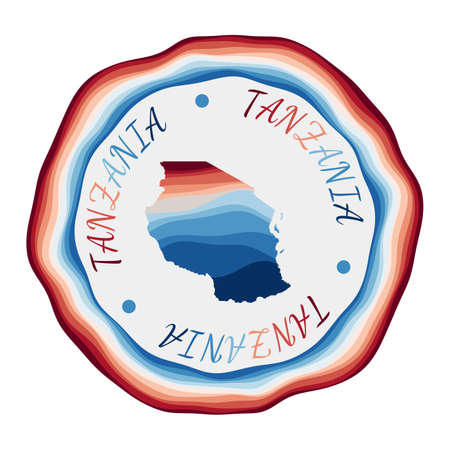 Tanzania badge. Map of the country with beautiful geometric waves and vibrant red blue frame. Vivid round Tanzania logo. Vector illustration.