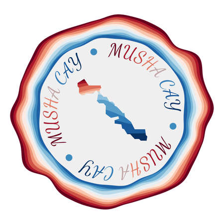 Musha Cay badge. Map of the island with beautiful geometric waves and vibrant red blue frame. Vivid round Musha Cay logo. Vector illustration.