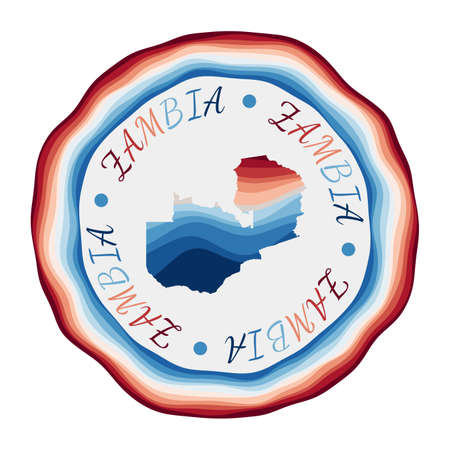 Zambia badge. Map of the country with beautiful geometric waves and vibrant red blue frame. Vivid round Zambia logo. Vector illustration.