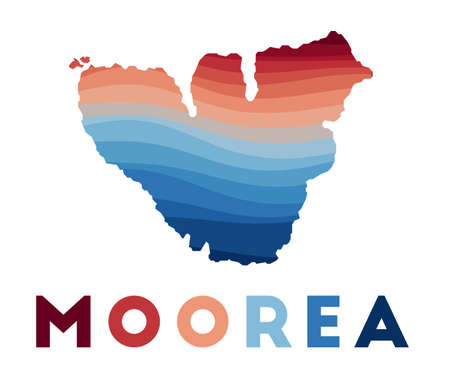 Moorea map. Map of the island with beautiful geometric waves in red blue colors. Vivid Moorea shape. Vector illustration.