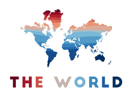 The World map. Map of the world with beautiful geometric waves in red blue colors. Vivid The World shape. Vector illustration.