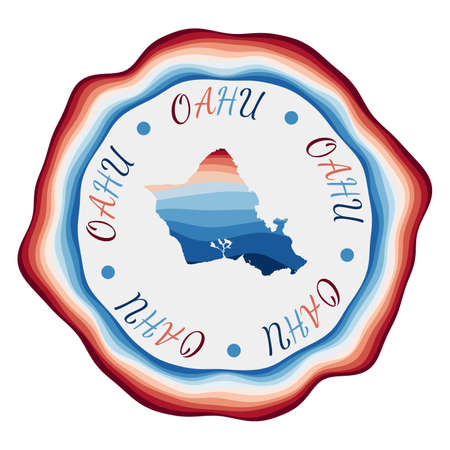 Oahu badge. Map of the island with beautiful geometric waves and vibrant red blue frame. Vivid round Oahu logo. Vector illustration.
