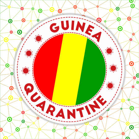 Quarantine in Guinea sign. Round badge with flag of Guinea. Country lockdown emblem with title and virus signs. Vector illustration.