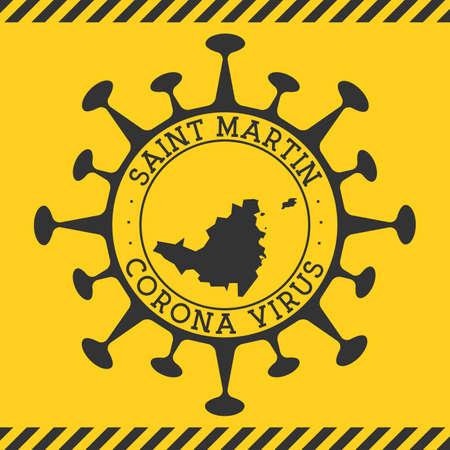 Corona virus in Saint Martin sign. Round badge with shape of virus and Saint Martin map. Yellow island epidemy lock down stamp. Vector illustration.