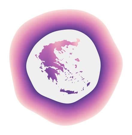 Greece icon. Colorful gradient logo of the country. Purple red Greece rounded sign with map for your design. Vector illustration.
