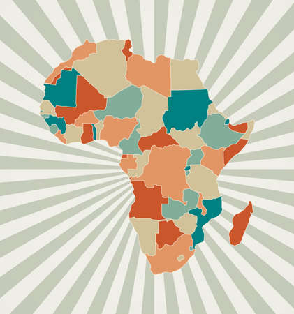 Africa map. Poster with map of the continent in retro color palette. Shape of Africa with sunburst rays background. Vector illustration.