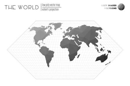 Triangular mesh of the world. Eckert I projection of the world. Grey Shades colored polygons. Beautiful vector illustration.