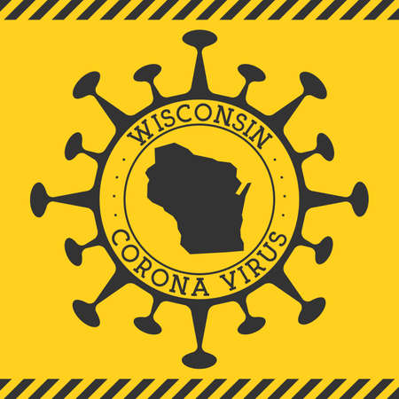 Corona virus in Wisconsin sign. Round badge with shape of virus and Wisconsin map. Yellow us state epidemy lock down stamp. Vector illustration. Ilustracja