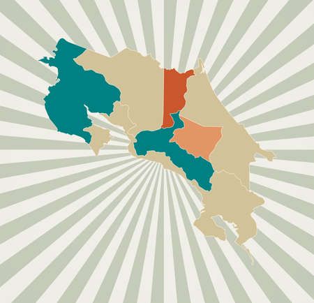 Costa Rica map. Poster with map of the country in retro color palette. Shape of Costa Rica with sunburst rays background. Vector illustration. Ilustração