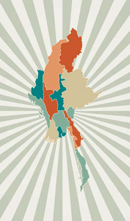 Myanmar map. Poster with map of the country in retro color palette. Shape of Myanmar with sunburst rays background. Vector illustration.