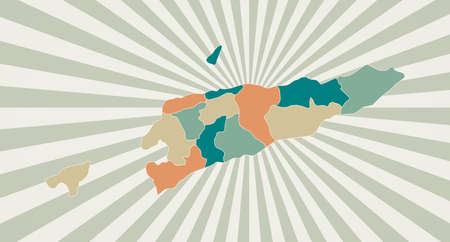 Timor-Leste map. Poster with map of the country in retro color palette. Shape of Timor-Leste with sunburst rays background. Vector illustration.