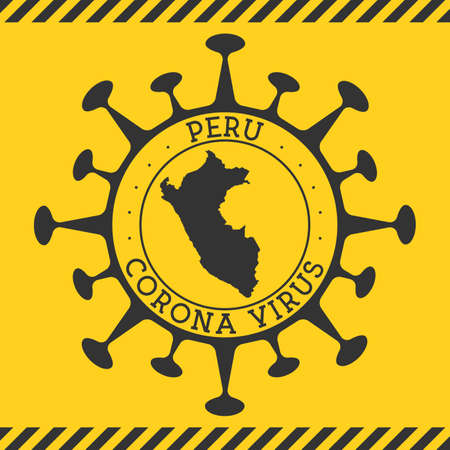 Corona virus in Peru sign. Round badge with shape of virus and Peru map. Yellow country epidemy lock down stamp. Vector illustration. Ilustracja