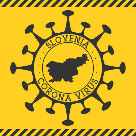 Corona virus in Slovenia sign. Round badge with shape of virus and Slovenia map. Yellow country epidemy lock down stamp. Vector illustration.