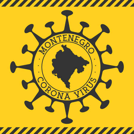 Corona virus in Montenegro sign. Round badge with shape of virus and Montenegro map. Yellow country epidemy lock down stamp. Vector illustration. Ilustracja