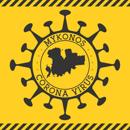 Corona virus in Mykonos sign. Round badge with shape of virus and Mykonos map. Yellow island epidemy lock down stamp. Vector illustration. Ilustracja