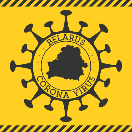 Corona virus in Belarus sign. Round badge with shape of virus and Belarus map. Yellow country epidemy lock down stamp. Vector illustration.