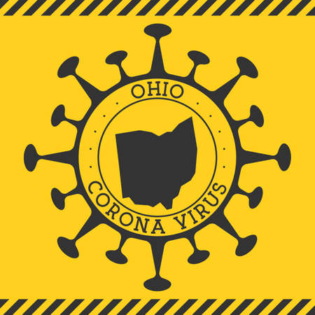 Corona virus in Ohio sign. Round badge with shape of virus and Ohio map. Yellow us state epidemy lock down stamp. Vector illustration.