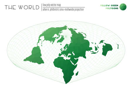Polygonal world map. Allen K. Philbrick's Sinu-Mollweide projection of the world. Yellow Green colored polygons. Creative vector illustration.
