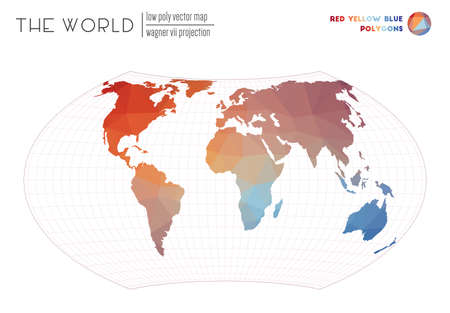 Polygonal world map. Wagner VII projection of the world. Red Yellow Blue colored polygons. Energetic vector illustration.