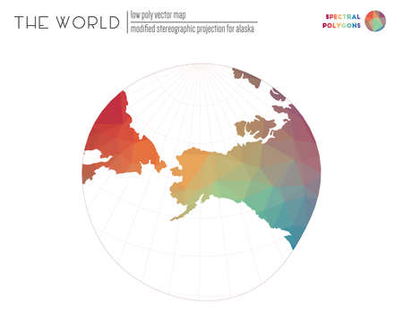 Polygonal map of the world. Modified stereographic projection for Alaska of the world. Spectral colored polygons. Neat vector illustration. 向量圖像