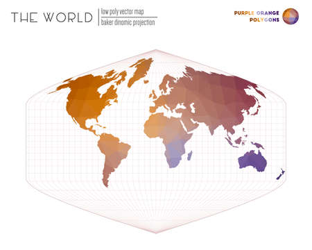 World map with vibrant triangles. Baker Dinomic projection of the world. Purple Orange colored polygons. Creative vector illustration.