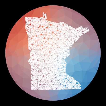 Vector network Minnesota map. Map of the us state with low poly background. Rounded Minnesota illustration in technology, internet, network, telecommunication concept style. Иллюстрация