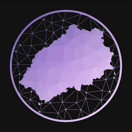 Saint Helena icon. Vector polygonal map of the island. Saint Helena icon in geometric style. The island map with purple low poly gradient on dark background.