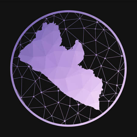 Liberia icon. Vector polygonal map of the country. Liberia icon in geometric style. The country map with purple low poly gradient on dark background.