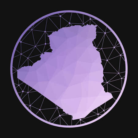 Algeria icon. Vector polygonal map of the country. Algeria icon in geometric style. The country map with purple low poly gradient on dark background. Ilustração
