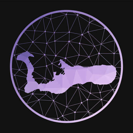 Grand Cayman icon. Vector polygonal map of the island. Grand Cayman icon in geometric style. The island map with purple low poly gradient on dark background.