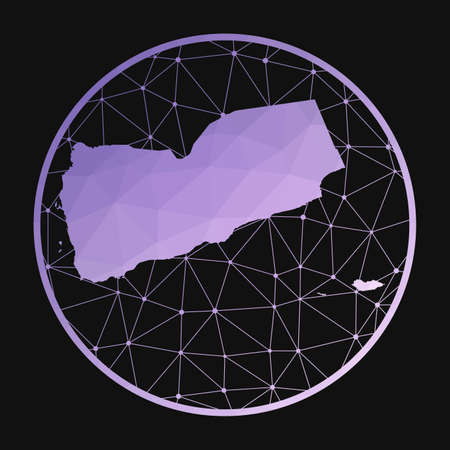 Yemen icon. Vector polygonal map of the country. Yemen icon in geometric style. The country map with purple low poly gradient on dark background. 向量圖像