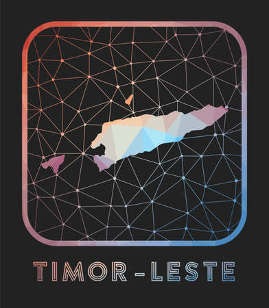Timor-Leste map design. Vector low poly map of the country. Timor-Leste icon in geometric style. The country shape with polygnal gradient and mesh on dark background.