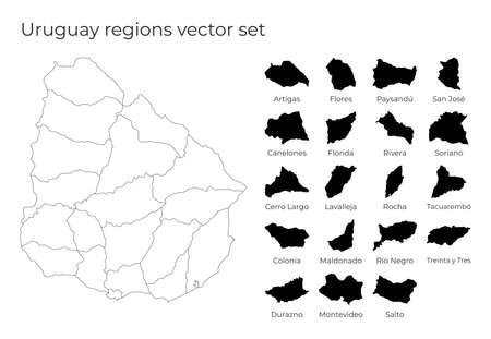 Uruguay map with shapes of regions. Blank vector map of the Country with regions. Borders of the country for your infographic. Vector illustration.