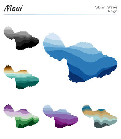 Set of vector maps of Maui. Vibrant waves design. Bright map of island in geometric smooth curves style. Multicolored Maui map for your design. Neat vector illustration. 向量圖像