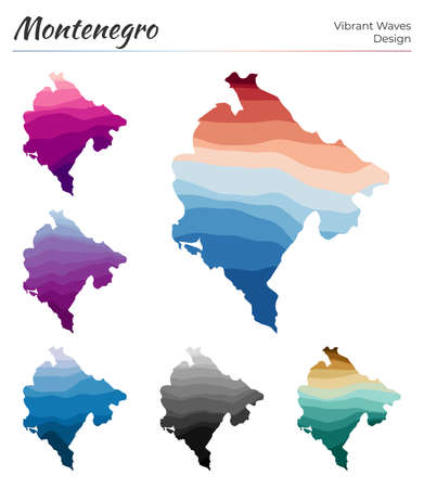 Set of vector maps of Montenegro. Vibrant waves design. Bright map of country in geometric smooth curves style. Multicolored Montenegro map for your design. Amazing vector illustration.