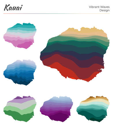 Set of vector maps of Kauai. Vibrant waves design. Bright map of island in geometric smooth curves style. Multicolored Kauai map for your design. Attractive vector illustration.