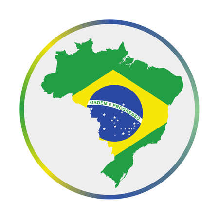 Brazil icon. Shape of the country with Brazil flag. Round sign with flag colors gradient ring. Amazing vector illustration. 向量圖像