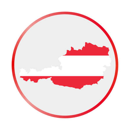 Austria icon. Shape of the country with Austria flag. Round sign with flag colors gradient ring. Charming vector illustration.